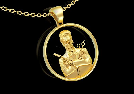 Barber Skeleton Skull Sculpture pendant jewelry gold necklace 3D print model