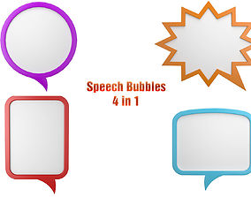 3D model Speech Bubbles 4 in 1