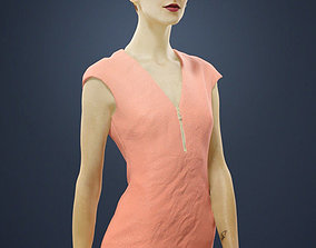 3D Barbara Elegant Walking Woman In Warm Dress with a