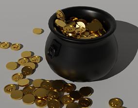 3D asset Leprechaun Low-Poly Pot of Gold