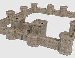 3D asset Castle Walls Towers and Gates