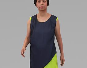 A Middle-age Woman Walking Along In Half Body 3D model