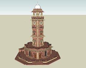 indian jodhpuri stone ghanta ghar clock tower 3d rigged