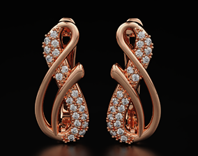 3D print model stylish earrings with diamonds in the 4