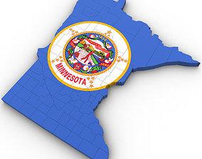 3D model Minnesota Political Map state