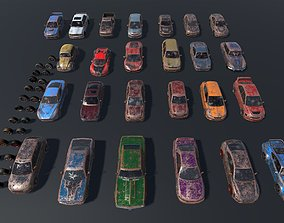 Pack Of wrecked rusted Low Poly 25 Sports Cars 3D asset 2