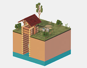 Isometric European Village Well Draw-Well 3D asset