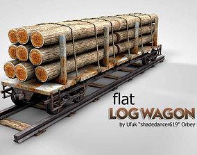 3D model Flat Log Wagon