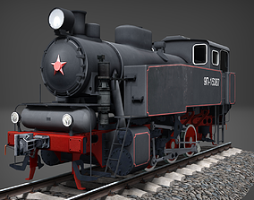 Industrial steam tank locomotive 9P 3D asset