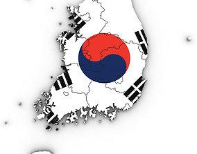3d Political Map of South Korea