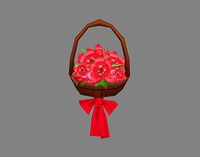Cartoon flower basket 3D asset