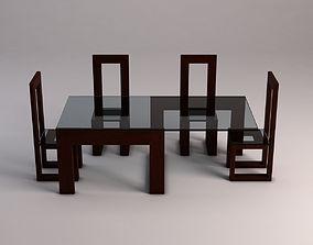 3D model DINING TABLE---Design snake pedestal and glass