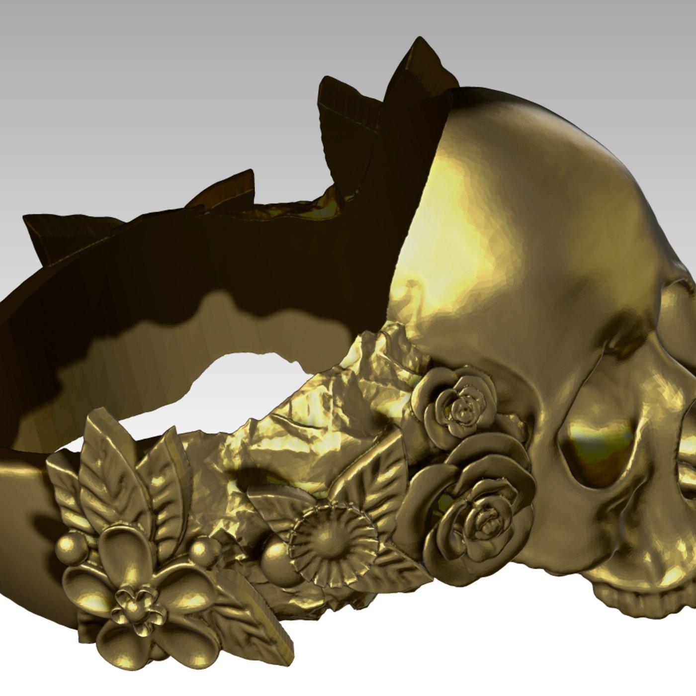 Modern Art Stone Flower  Skull Fashion Ring.