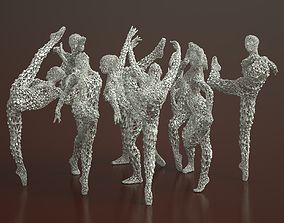 3D 9 Ballerina Dancer Abstract Sculptures