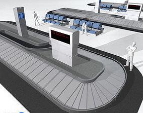 3D Airport baggage carousel