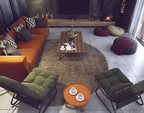 Livingroom and Kitchen 3D Model Vray Settings and PSD
