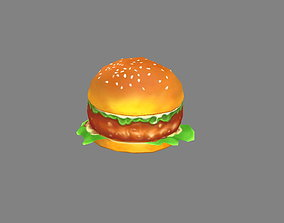 Cartoon hamburger 3D model