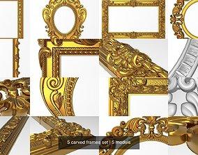 3D model 5 carved frames set architectural