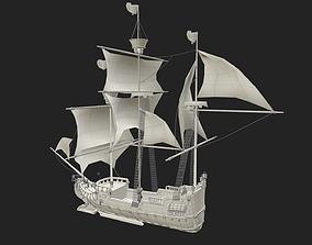 medieval ship 3D asset realtime