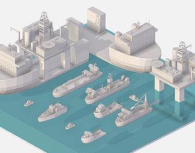 3D model Isometric Big Boat Vessel Drill Ship Platform