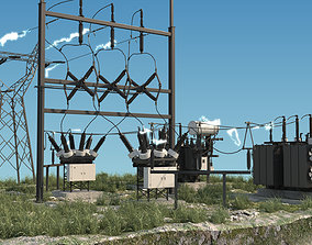 3D model animated Electrical Substation