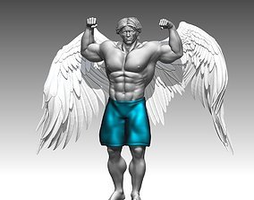 Bodybuilder Man statues angel 3D print 3D model
