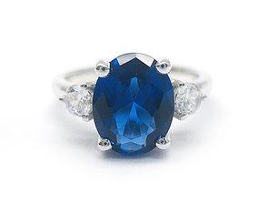 3DM Vintage three stone engagement ring silver