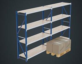 3D asset realtime Boxes Pallet And Shelf 1A