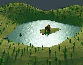 3D asset Lake Island cabin