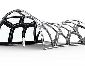 Voronoi Pavilion Structure with Glass Panels 3D model