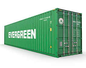 3D model 40 feet High Cube Evergreen shipping container