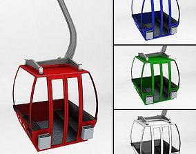 3D model Ski lift gondola cable car small