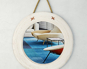 Round Wood And Jute Mirror by ZARA HOME 3D