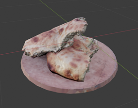 3D asset low-poly torn pieces of bread