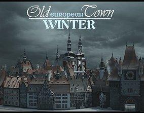 Old European Town Winter 3D model
