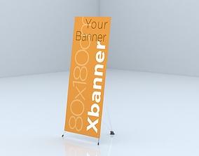 X Banner Stand 3D asset