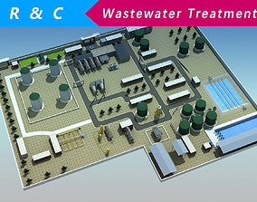 Wastewater Treatment Plant 3D model low-poly