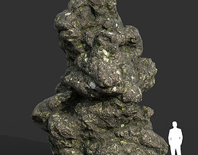 3D asset Low poly Damaged Lichen Rock 20 190907