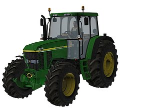 3D model John Deere 7810 with farmer