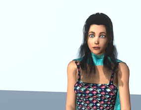 Brunette with a blue scarf 3D asset