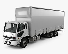 3D model Mitsubishi Fuso Fighter Curtainsider 14 Pallet 1