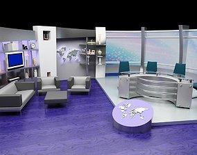 News TV Studio Set 3D model