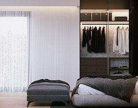 Modern Bedroom Interior Scene and Corona Render 3D model