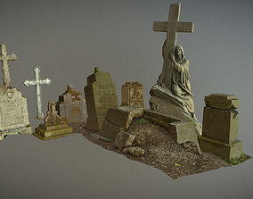 3D model Gravestones crosses and sculptures from old