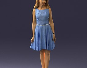 Woman in blue dress 0100 3D Print Ready