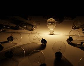 3D model lightbulb with a warm light