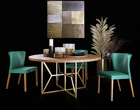 3D model Dining Set with Decor