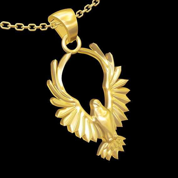 Bird with wings above head pendant jewelry gold necklace 3D print model
