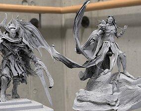 Angel statues 2 fallen angels together 3D