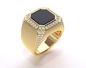 Mens ring with black onyx 020 3D print model